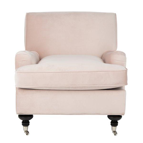 Safavieh Chloe Club Chair - Blush Pink/Espresso