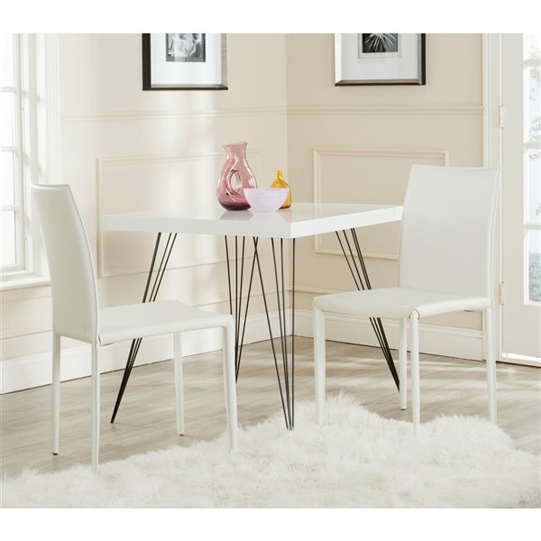 Safavieh Karna 19-in H Dining Chair  - White Seat and Finish (Set Of 2)