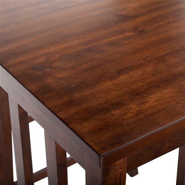 Safavieh Ilana 3 Piece Pub Set - Chestnut and Black - 24-in L x 32-in W - Sits 2