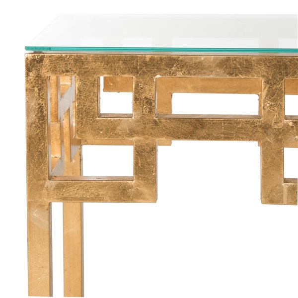 Safavieh Byram Glass End Table with Antique Gold Leaf Finish
