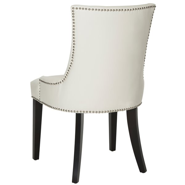Safavieh Lester 19-in H Dining Chair  with Silver Nail Heads - White Seat and Rustic Black Finish (Set Of 2)