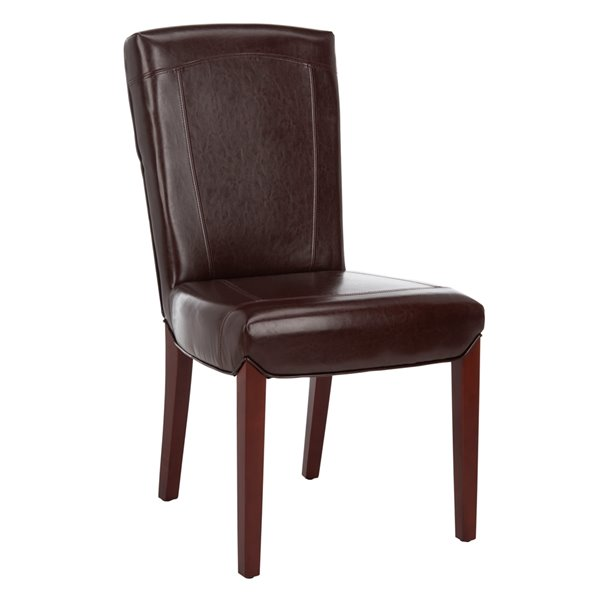 Safavieh Ken 19-in H Leather Side Chair  - Brown Seat and Cherry Finish (Set Of 2)