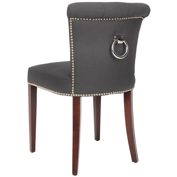 Safavieh Arion 21-in H Linen Ring Chair with Nickel Nail Heads - Charcoal Seat and Cherry Finish (Set Of 2)