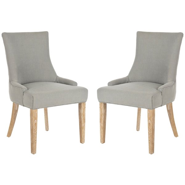 Safavieh Lester 19-in H Chevron Dining Chair  - Granite Seat and White Finish (Set Of 2)