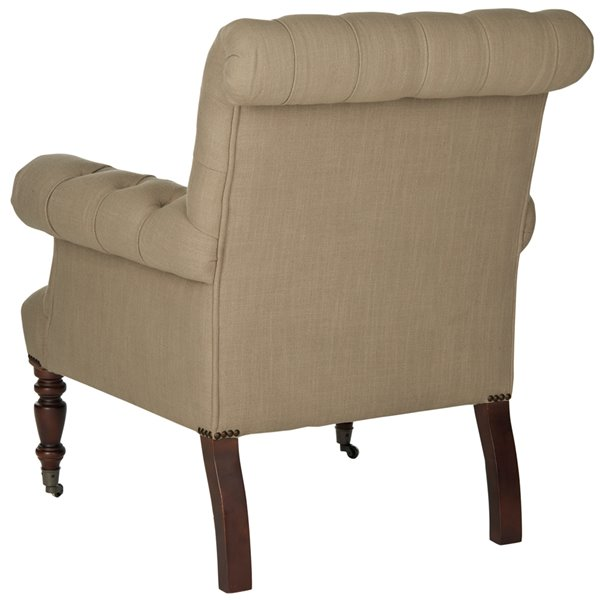 Safavieh Bennet Linen Club Chair - Taupe/Black