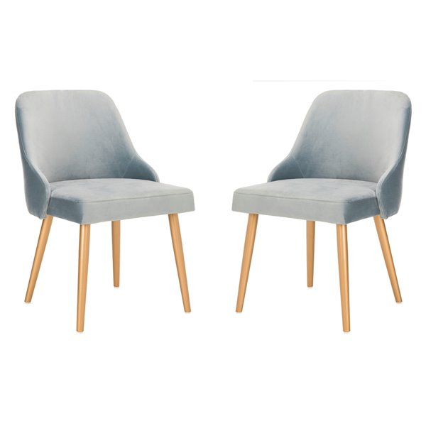 Safavieh Lulu Upholstered Dining Chair  - Slate Blue Seat and Gold Finish (Set Of 2)