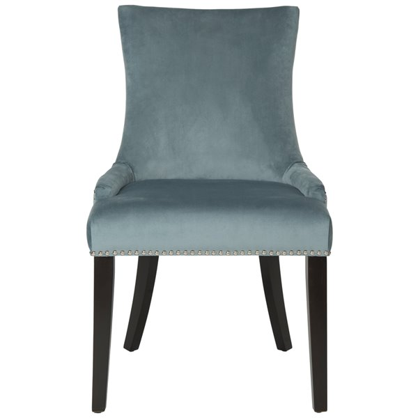 Safavieh Lester 19-in H Dining Chair  with Silver Nail Heads - Blue Seat and Rustic Black Finish (Set Of 2)