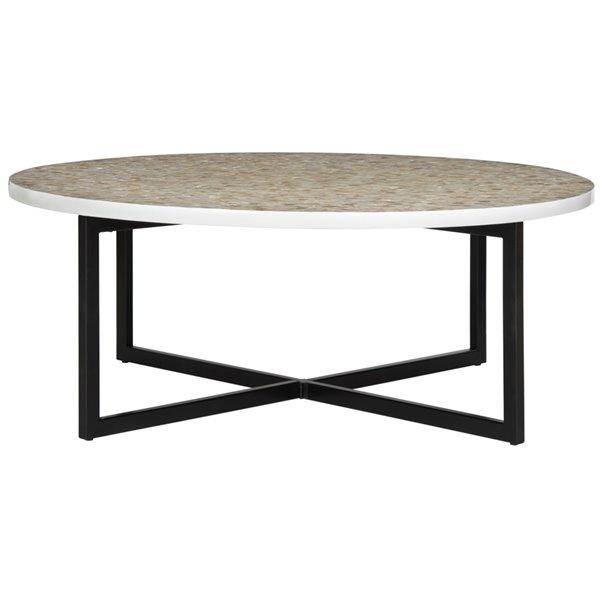 Safavieh Cheyenne Cream Mosaic Round Coffee Table - 39.8-in Diameter