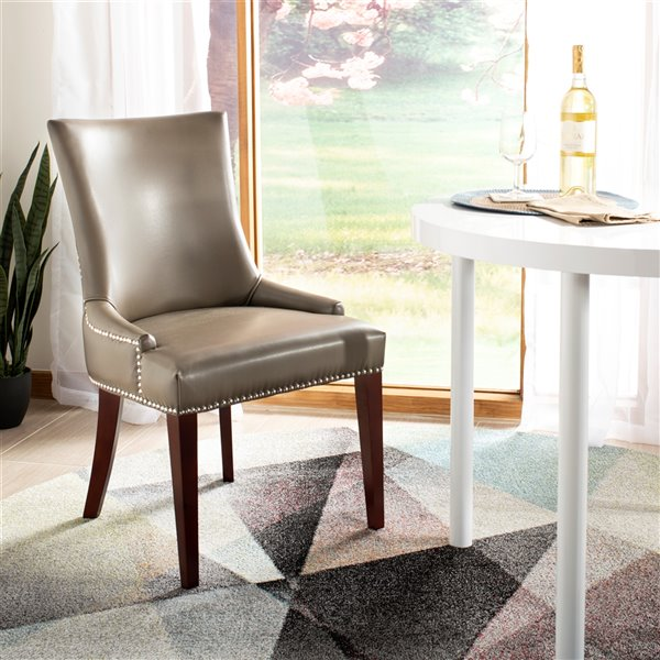 Safavieh Becca 19-in H Leather Dining Chair  with Silver Nail Heads - Clay Seat and Cherry Finish