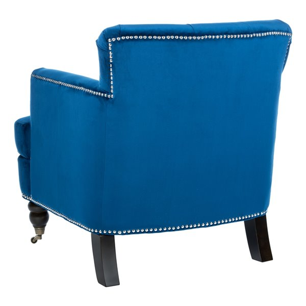 Safavieh Colin Tufted Club Chair - Navy Blue/Espresso