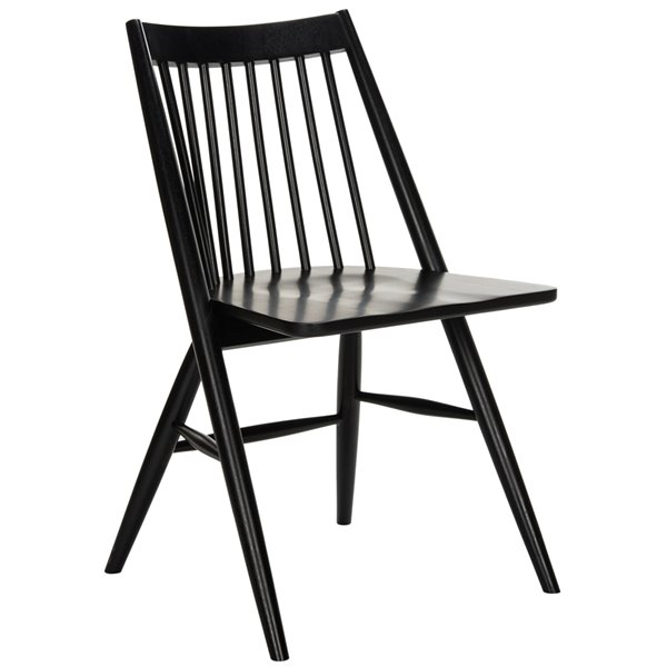 Safavieh Wren 19-in H Spindle Dining Chair  - Black Seat and Finish (Set Of 2)