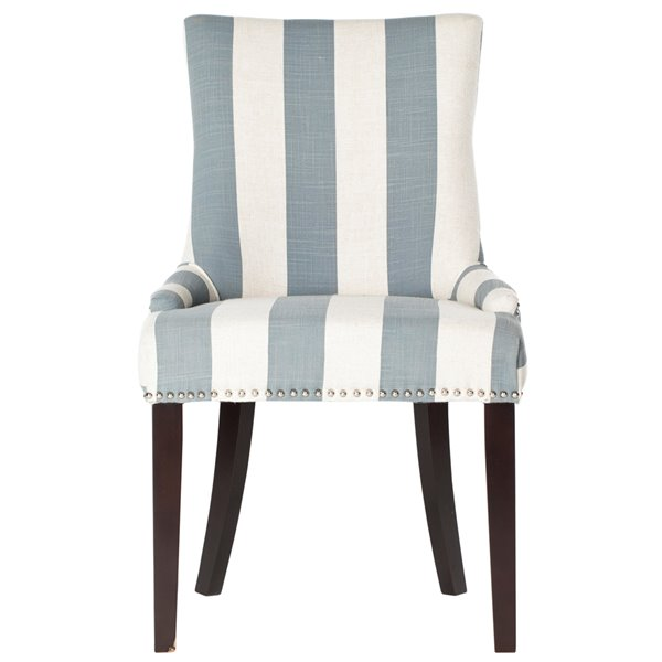 Safavieh Lester 19-in H Awning Stripes Dining Chair  with Silver Nail Heads - Grey/White Seat and Rustic Black Finish (Set Of 2)