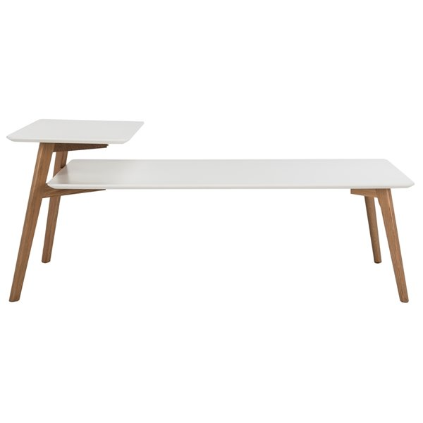 Safavieh Basil Rectangular 2 Tier Coffee Table - White Table Top with Natural Legs