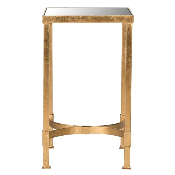 Safavieh Halyn Glass End Table with Antique Gold Leaf Finish