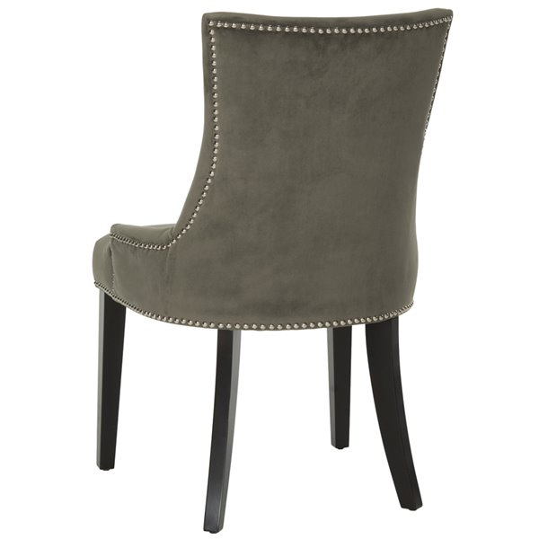 Safavieh Lester 19-in H Dining Chair  with Silver Nail Heads - Graphite Seat and Rustic Black Finish (Set Of 2)