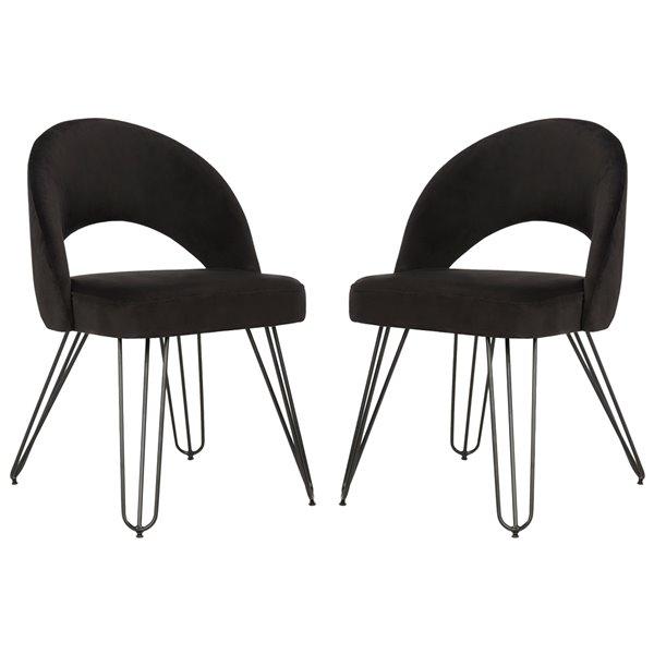 Safavieh Jora Velvet Retro Side Chair - Black (Set of 2)