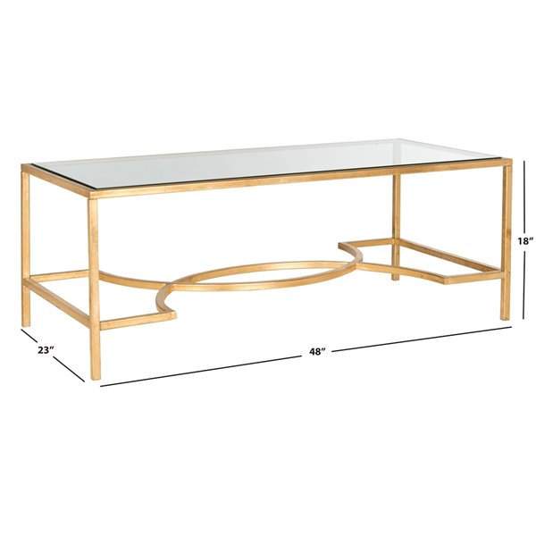 Safavieh Inga Glass Rectangular Coffee Table with  Gold Leaf finished Frame