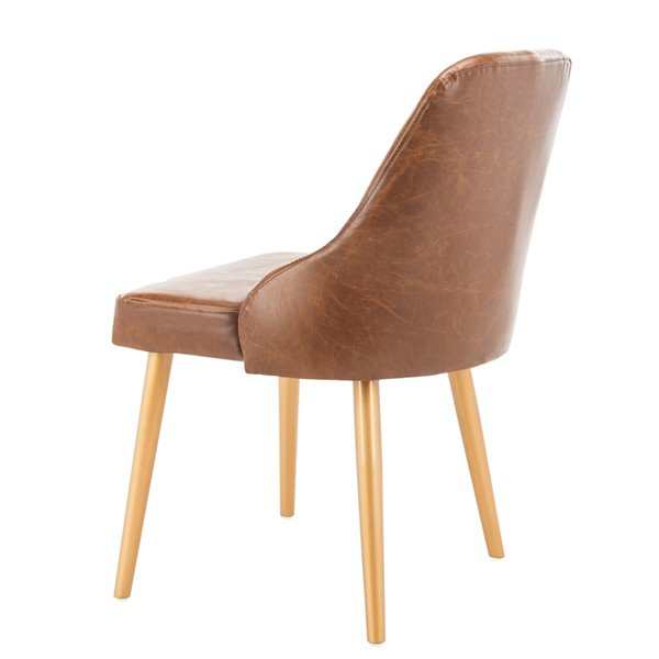Safavieh Lulu Upholstered Dining Chair  - Light Brown Seat and Gold Finish (Set Of 2)