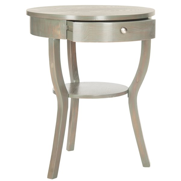 Safavieh Kendra 1-Drawer Round Grey Wood  End Table