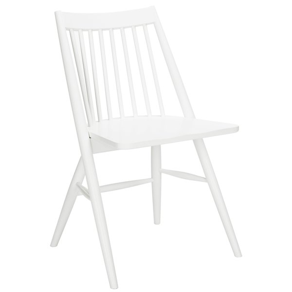 Safavieh Wren 19-in H Spindle Dining Chair  - White Seat and Finish (Set Of 2)