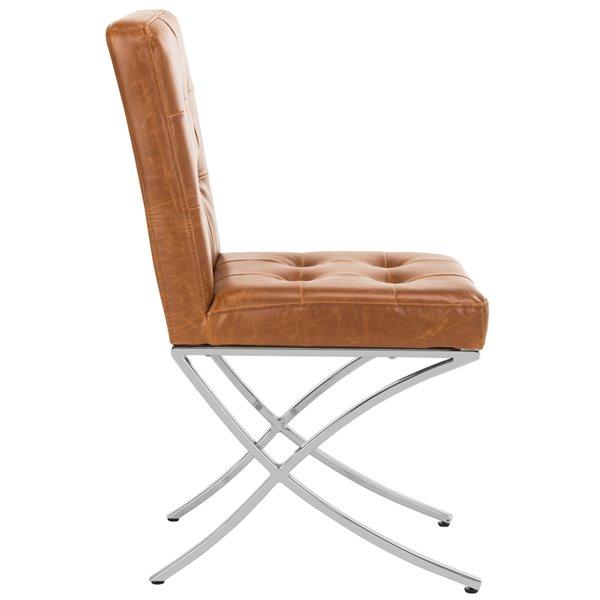 Safavieh Walsh Tufted Velvet Side Chair - Light Brown/Chrome