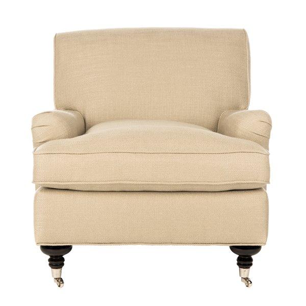 Safavieh Chloe Club Chair - Beige/Espresso