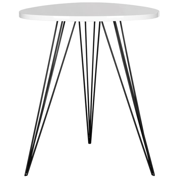 Safavieh Wolcott Side Table with White Lacquer Top and Black Iron Legs