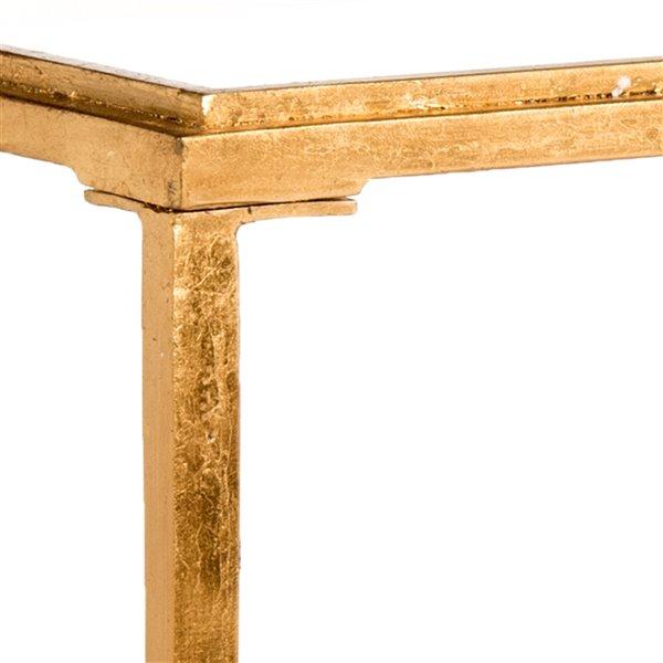 Safavieh Juliana Glass Rectangular Coffee Table Antique Gold Finish