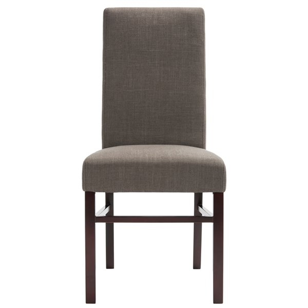 Safavieh Classic 20-in H Linen Side Chair  - Charcoal Seat and Cherry Finish (Set Of 2)