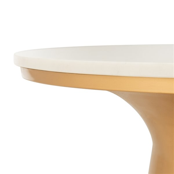 Safavieh Mila White Marble Coffee Table with Brass Pedestal - 30.5-in Diameter
