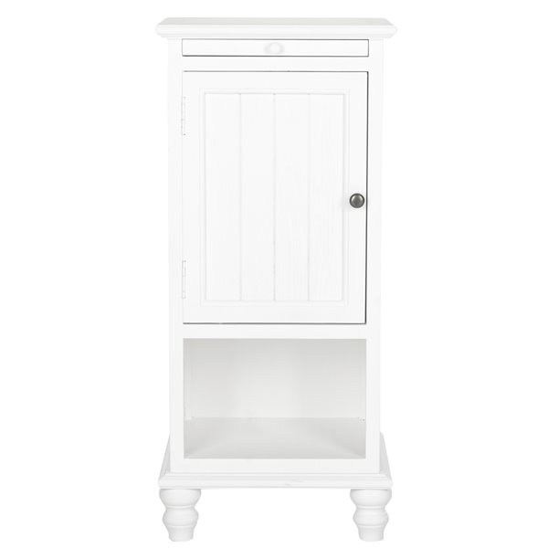 Safavieh Jezabe White Wood  End Table with Pullout Shelf and Cabinet
