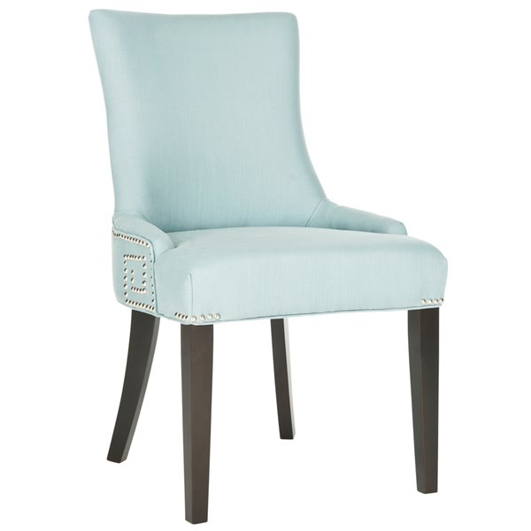 Safavieh Gretchen 20-in H Side Chair  with Silver Nail Heads - Light Blue Seat and Rustic Black Finish (Set Of 2)