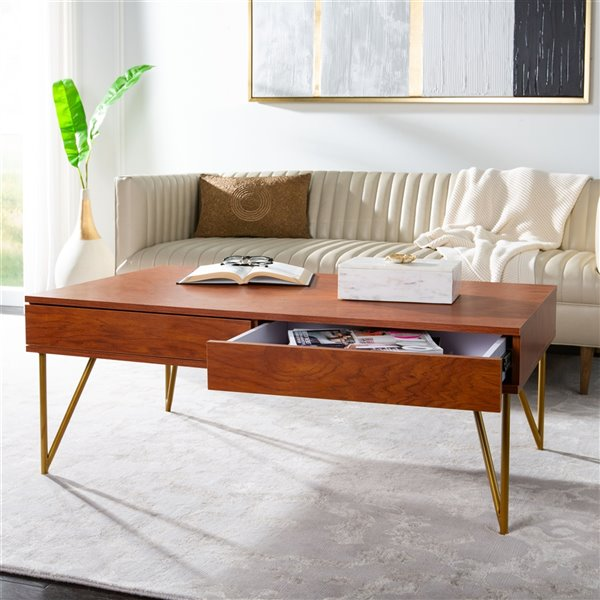 Safavieh Pine Rectangular Two Drawer Coffee Table - Natural