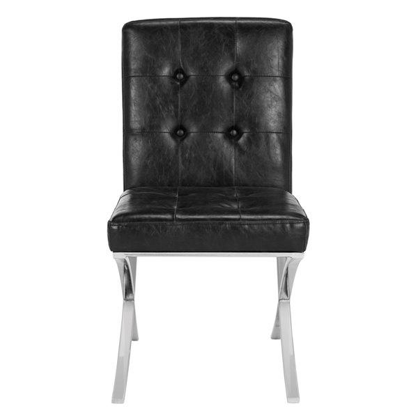 Safavieh Walsh Tufted Velvet Side Chair - Black/Chrome