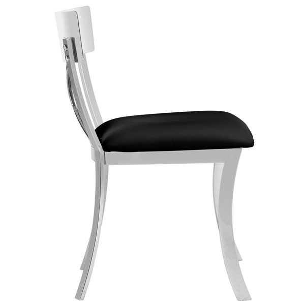 Safavieh Zoey 19-in H Side Chair  - Black Seat and Chrome Finish (Set Of 2)