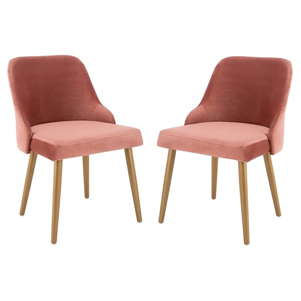 Safavieh Lulu Upholstered Dining Chair  - Dusty Rose Seat and Gold Finish (Set Of 2)