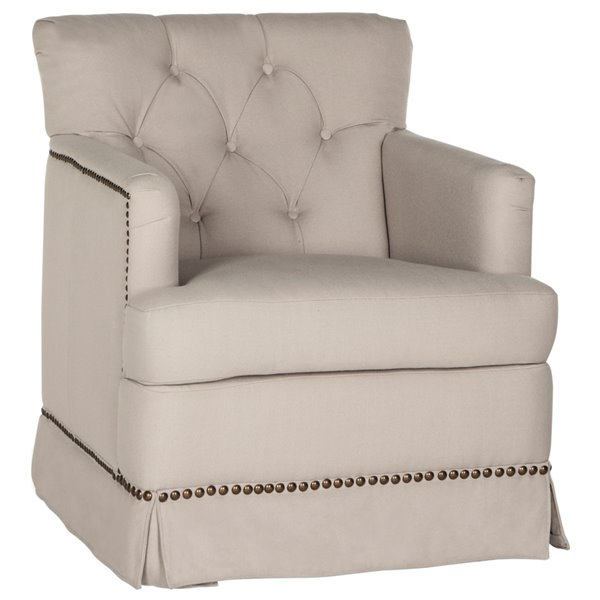 Safavieh Millicent Linen Swivel Accent Chair - Taupe