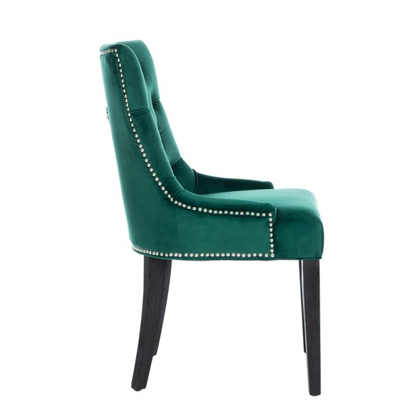 Safavieh Harlow 19-in H Tufted Ring Chair  - Emerald Seat and Rustic Black Finish (Set Of 2)