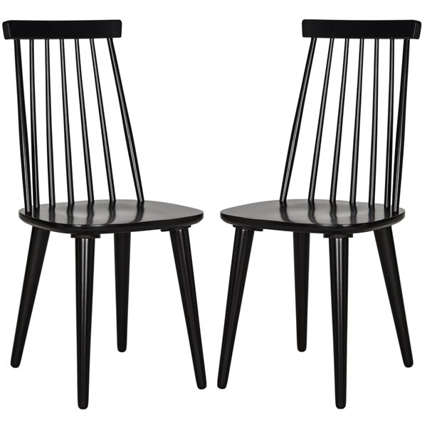 Safavieh Burris 17-in H Spindle Side Chair  - Lacquer Coating Seat and Black Finish (Set Of 2)