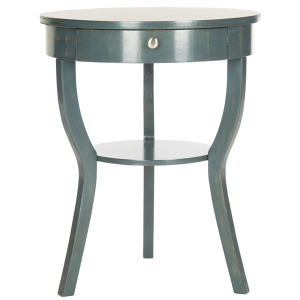 Safavieh Kendra 1-Drawer Round Teal Wood  End Table