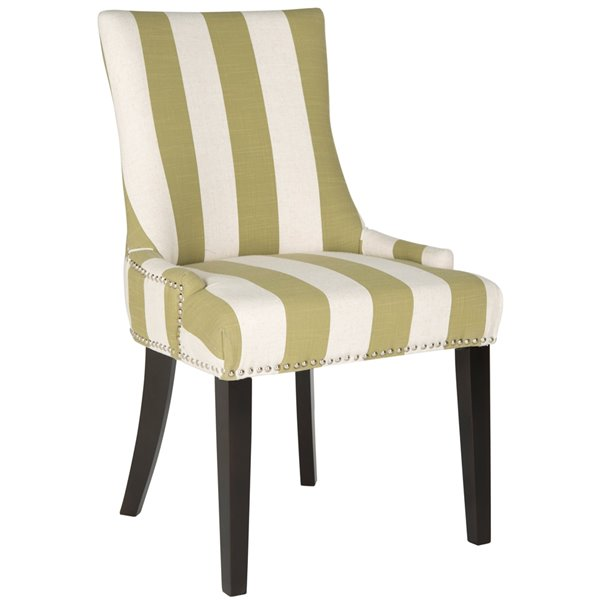 Safavieh Lester 19-in H Awning Stripes Dining Chair  with Silver Nail Heads - Sweet Pea/White Seat and Black Finish (Set Of 2)