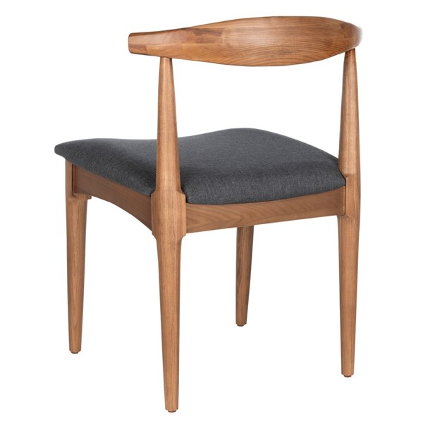 Safavieh Lionel Retro Dining Chair  - Dark Gray Seat and Brown Finish (Set Of 2)