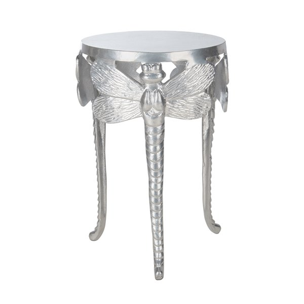 Safavieh Melika Dragonfly Round Silver Accent Table