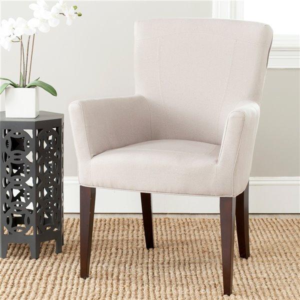Safavieh Dale Linen Arm Chair - Taupe/Espresso