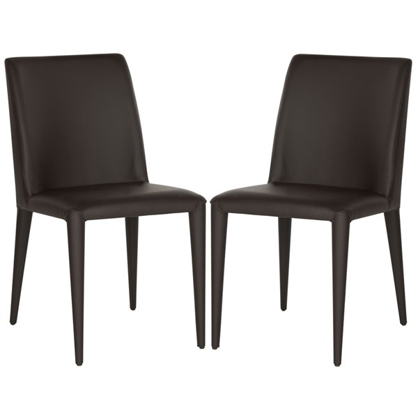 Safavieh Garretson 18-in H Leather Side Chair  - Brown Seat and Finish (Set Of 2)