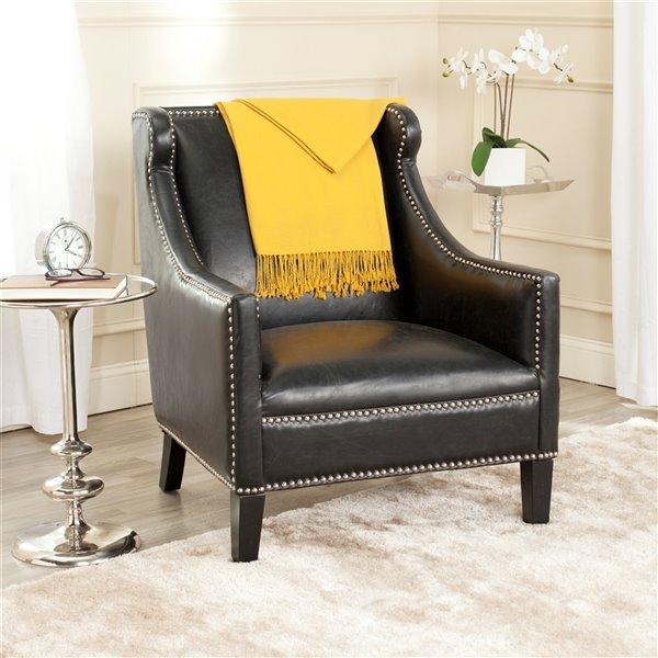 Safavieh Mckinley Faux Leather Club Chair - Antique Black