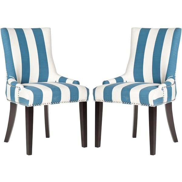 Safavieh Lester 19-in H Awning Stripes Dining Chair  with Silver Nail Heads - Blue/White Seat and Rustic Black Finish (Set Of 2)