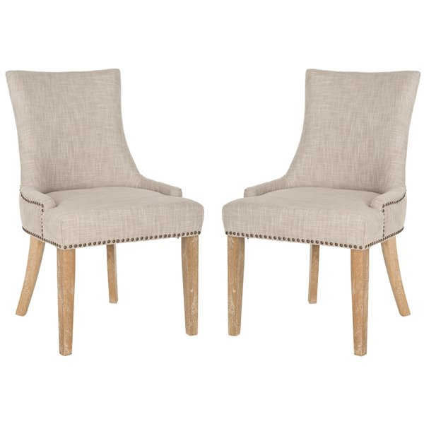 Safavieh Lester 19-in H Dining Chair  with Brass Nail Heads - Grey/White Seat and White Finish (Set Of 2)