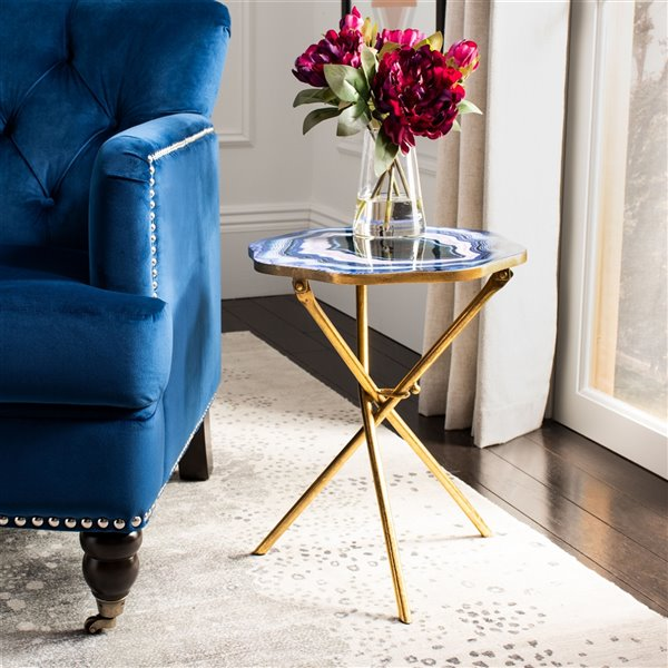 Safavieh Celeste Faux Agate Side Table - Multi Blue & Purple Table Top with Gold Finish