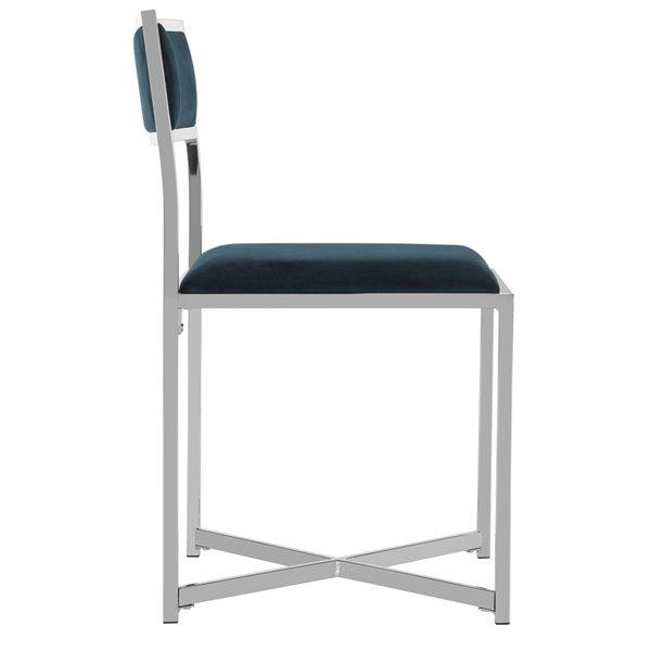 Safavieh Menken Chrome Side Chair - Navy/Chrome (Set of 2)